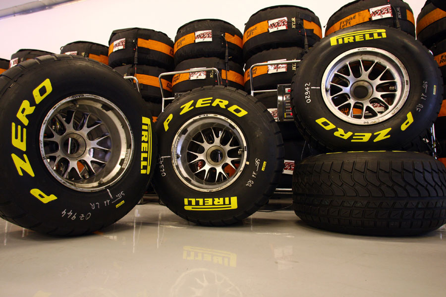 A set of Pirelli's wet tyres for the 2011 season
