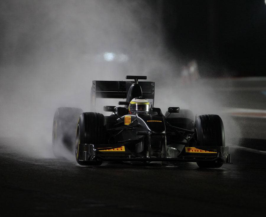 Pedro de la Rosa tests Pirelli's wet weather tyres on an artificially soaked track