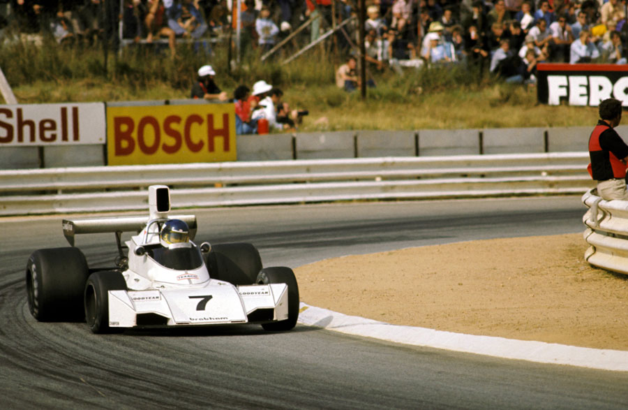 Carlos Reutemann on his way to his first career victory and Brabham's first win under Bernie Ecclestone