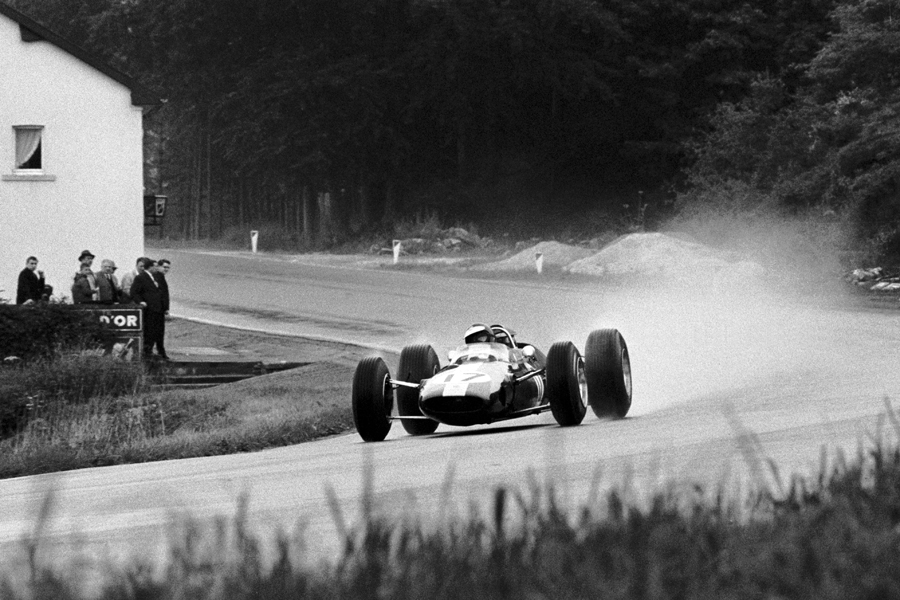 Jim Clark masters the rain on his way to victory at Spa