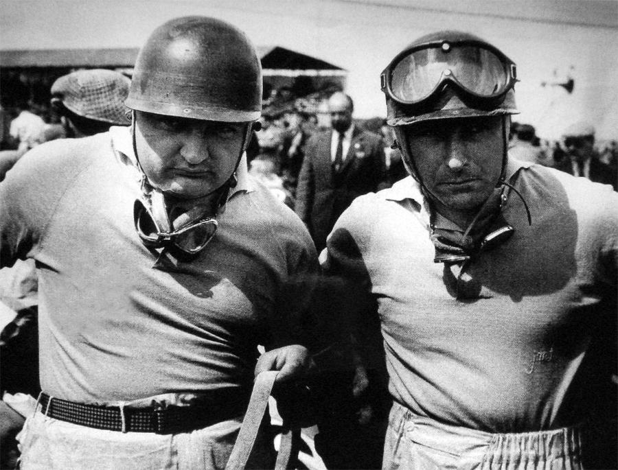Maserati team-mates Jose Froilan Gonzalez and Juan Manuel Fangio