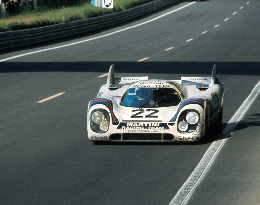 Helmut Marko guides the No. 22 Porsche 917K towards victory at Le Mans