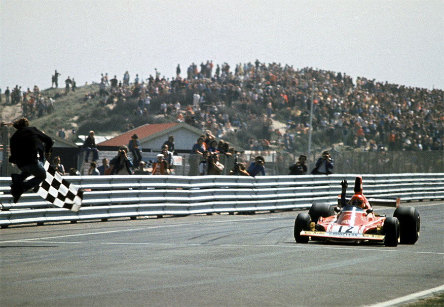 Niki Lauda crosses the line for a comfortable victory at Zandvoort