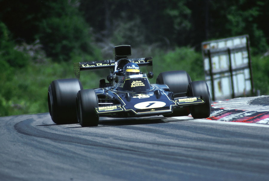 Ronnie Peterson on the edge of adhesion as he powers his Lotus 72E to victory