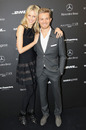 Model Karolina Kurkova and Nico Rosberg during the Mercedes Benz Fashion Week