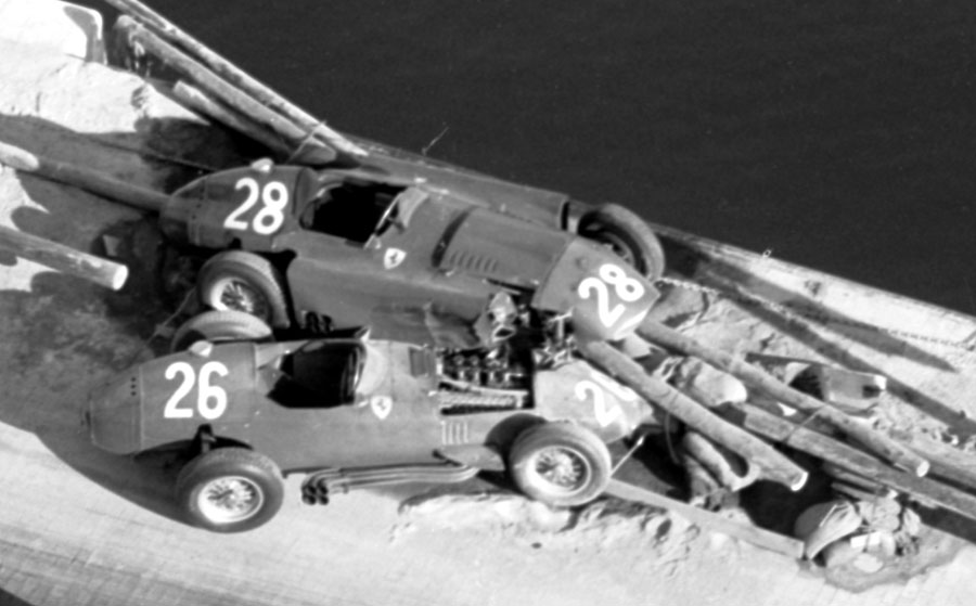 The wrecks of the Ferraris of Peter Collins and Mike Hawthorn
