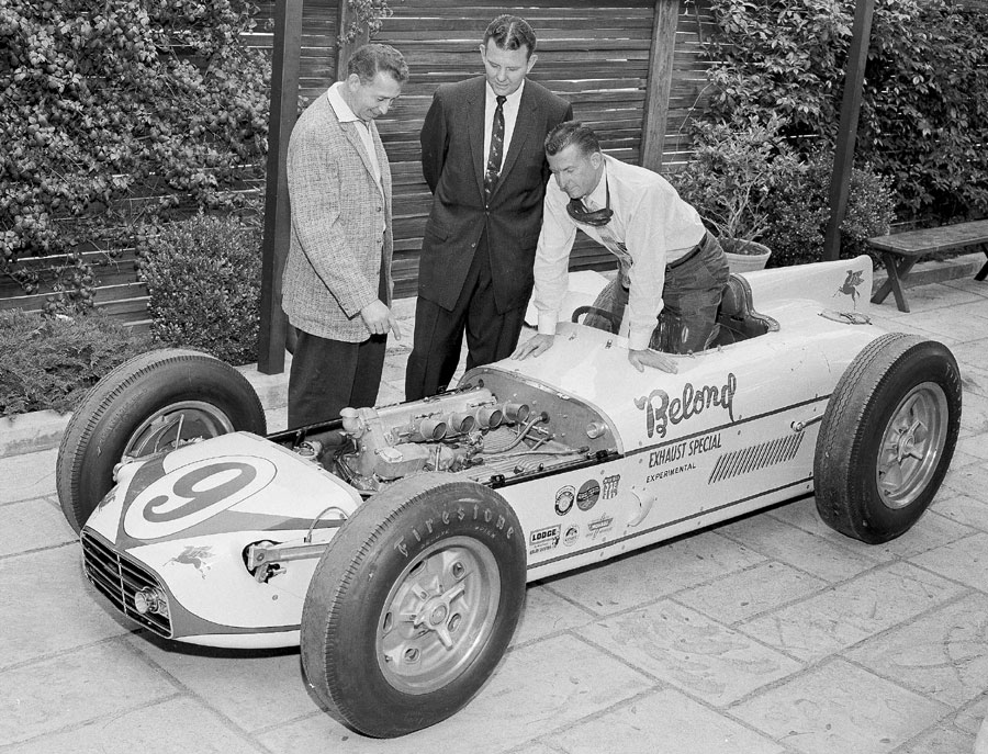 Sam Hanks (rear) and the builders of the Belond Exhaust Special pose for the cameras