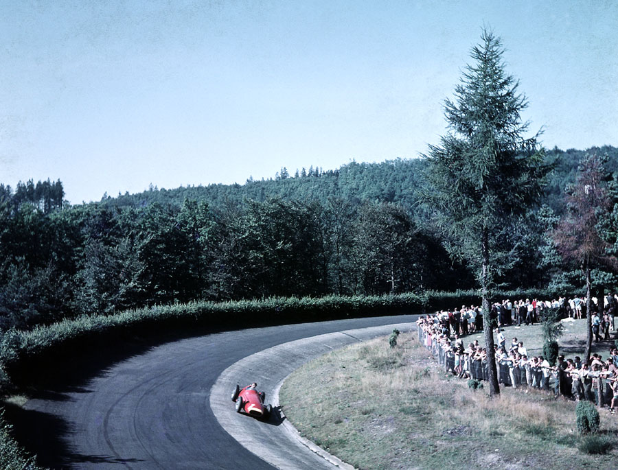 Juan Manuel Fangio on his way to winning the 1957 German Grand Prix