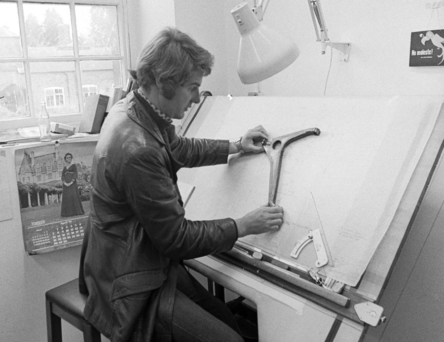 Harvey Postletwaite at the drawingboard as he works on the Hesketh 308