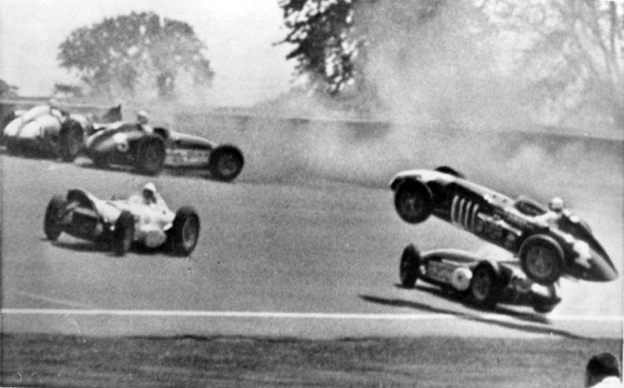 Pat O'Connor's car (No. 4) is airbourne after the first-lap pile-up - he died instantly when it rolled and hit the ground