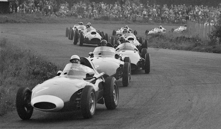 Stirling Moss leads in his Vanwall on the first lap of the race