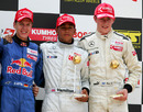 Sebastian Vettel, Lewis Hamilton and Paul di Resta on the podium, Hamilton went on to win the championship