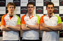 Force India's 2011 driver line-up, Nico Hulkenberg (test driver), Paul di Resta and Adrian Sutil