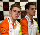 Paul di Resta and Adrian Sutil answer questions at a press conference