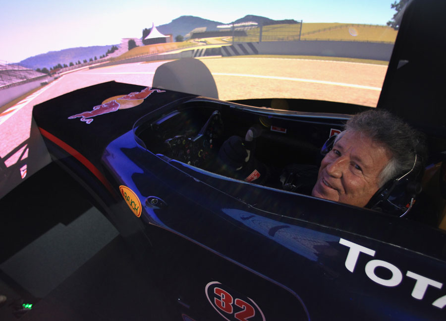 Mario Andretti relives his glory days in the Red Bull simulator