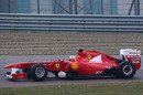 Fernando Alonso gives the Ferrari F150 its first run