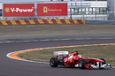 Fernando Alonso on track in the new Ferrari F150