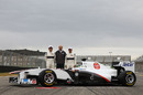 Sergio Perez, Peter Sauber and Kamui Kobayashi with the new Sauber C30