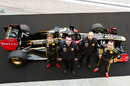 Vitaly Petrov, Eric Boullier, Gerard Lopez and Robert Kubica with the new Lotus Renault R31