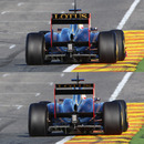 A before and after of Robert Kubica's moveable rear wing in action