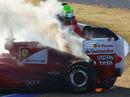 Felipe Massa's Ferrari caught fire early on the third day of testing