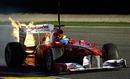 Felipe Massa's car spews flames