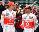 Jenson Button and Lewis Hamilton pose for the cameras