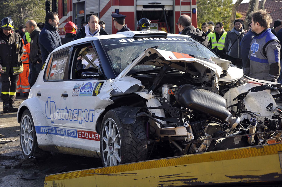Robert Kubica's wrecked Skoda after his rally accident