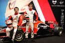 Timo Glock and Jerome d'Ambrosio pose with the new Virgin MVR-02