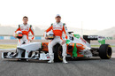 Paul di Resta and Adrian Sutil pose for the obligatory press shot with the new VMJ-04