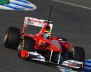 Felipe Massa attacks the chicane in the Ferrari F150