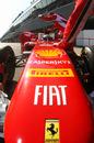 Felipe Massa gets pushed back in to the Ferrari garage