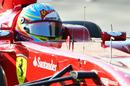 Fernando Alonso at the wheel of the Ferrari F150th Italia