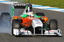 Paul di Resta locks a wheel under braking