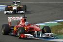 Fernando Alonso twists through the chicane