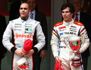 Pastor Maldonado and race winner Sergio Perez on the podium