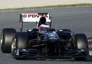 Rubens Barrichello out on a fresh set of Pirelli tyres