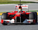Felipe Massa guides the Ferrari out of the chicane at the Circuit de Catalunya