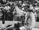 Jim Clark celebrates winning the 1965 Indianapolis 500