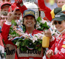 Emerson Fittipaldi breaks tradition after winning the Indianapolis 500 by celebrating with a bottle of orange juice