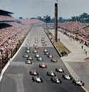 Jim Clark leads the field into the first corner at the Indianapolis 500