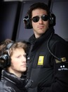 Bruno Senna and Romain Grosjean keep a close eye on proceedings