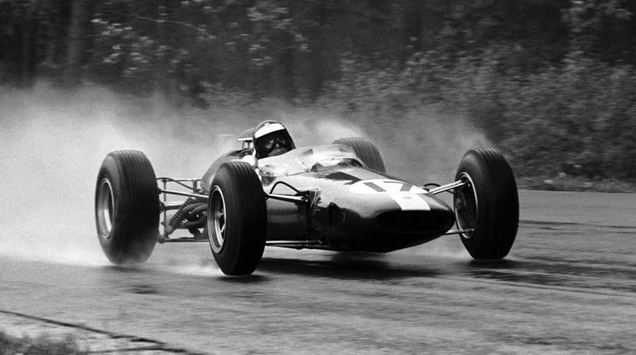 Jim Clark won in the wet at Spa