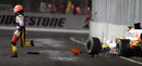Nelson Piquet Jnr' runs clear after crashing