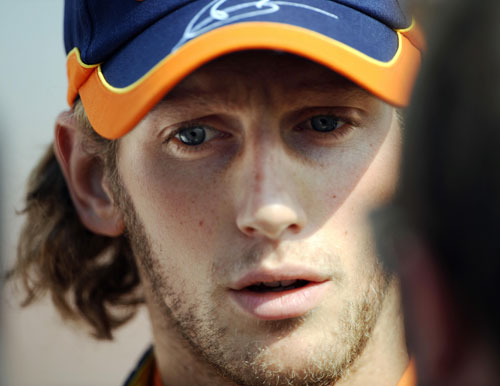 Romain Grosjean in the Monza paddock