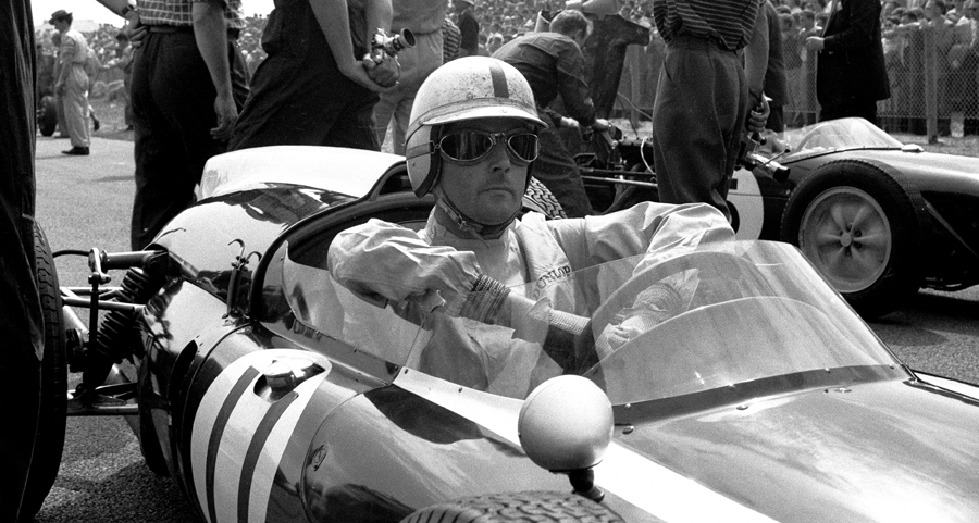 Jack Brabham on the grid just before the start of the Dutch Grand Prix