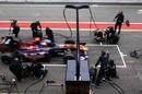 Sebastien Buemi comes in for a Toro Rosso pit stop
