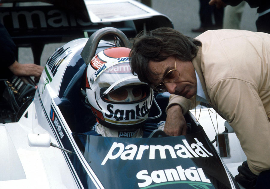 Brabham boss Bernie Ecclestone has a word with Nelson Piquet before the start