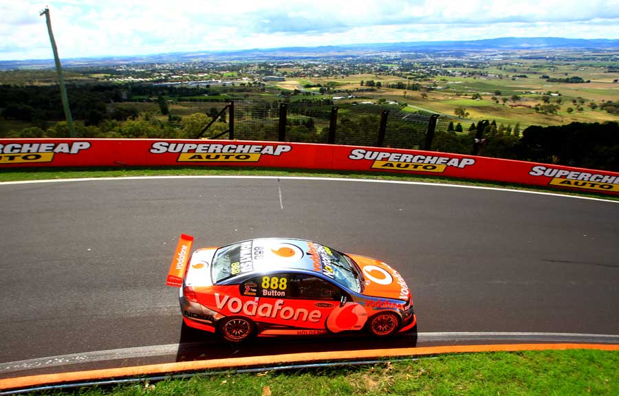 Jenson Button driving a Triple 8 Holden V8 Supercar at Bathurst