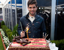 Toro Rosso's Jaime Alguersuari celebrates his 21st birthday with a car cake